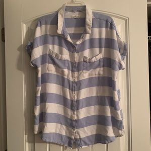Blue white collared button up stripes, XL, short